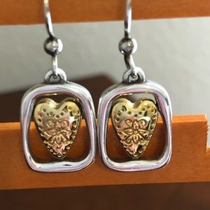 Brighton Two Tone Framed Heart Earrings